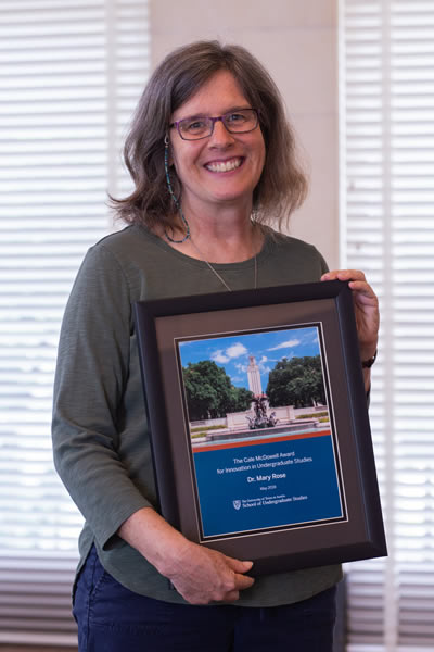 Mary Rose wins Cale McDowell Award for Innovation in Undergraduate Studies