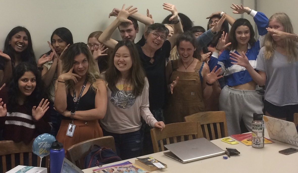 Professor Moore and her students upon hearing of her award
