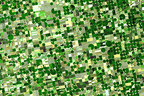 Aerial view of center-pivot irrigation farming in Kansas. Image: NASA