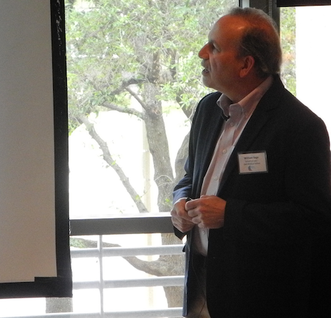 Dr. William Sage (UT Law / Dell Medical) presenting at the April HHRS