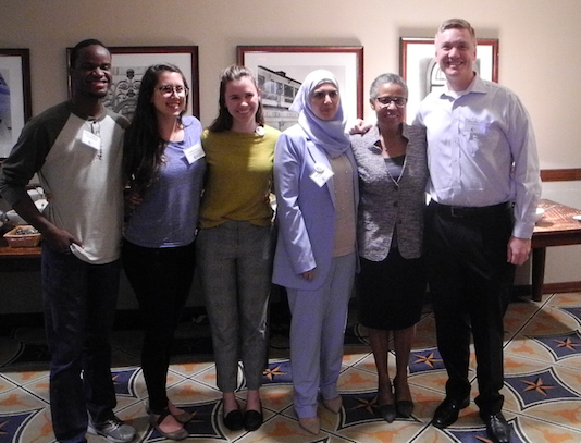 (From right) Dr. Steve Steffensen (Dell), Dr. Jewel Mullen (Dell), and Ms. Maram Museitif (Board of Managers, Central Health) with medical students at 11/5/18 HHRS