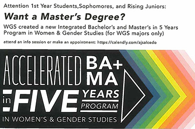 Women's and Gender Studies Offers New Five-Year BA/MA Degree