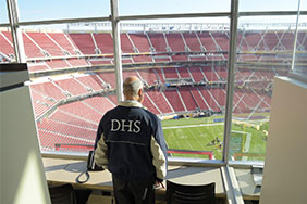 Secretary Johnson looks out over Levi's Stadium during security preparations for Super Bowl 50. Photo by Jetta Disco, DHS Office of Public Affairs.