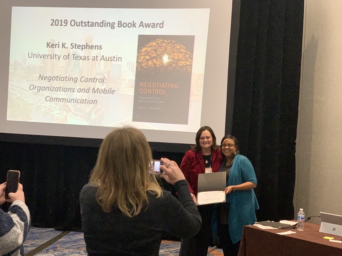 Dr. Keri Stephens being awarded 2019 Outstanding Book Award from the National Communication Association
