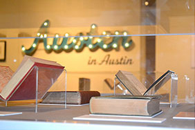 Austen in Austin section of the Stories to Tell gallery at the Harry Ransom Center. Photo by Allison Nguyen.