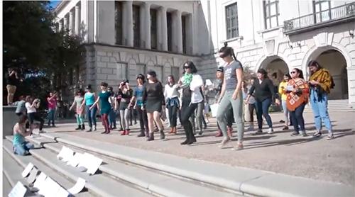 """UT students performed """"El violador en tu camino"""" (The rapist on your way"""") on campus."""