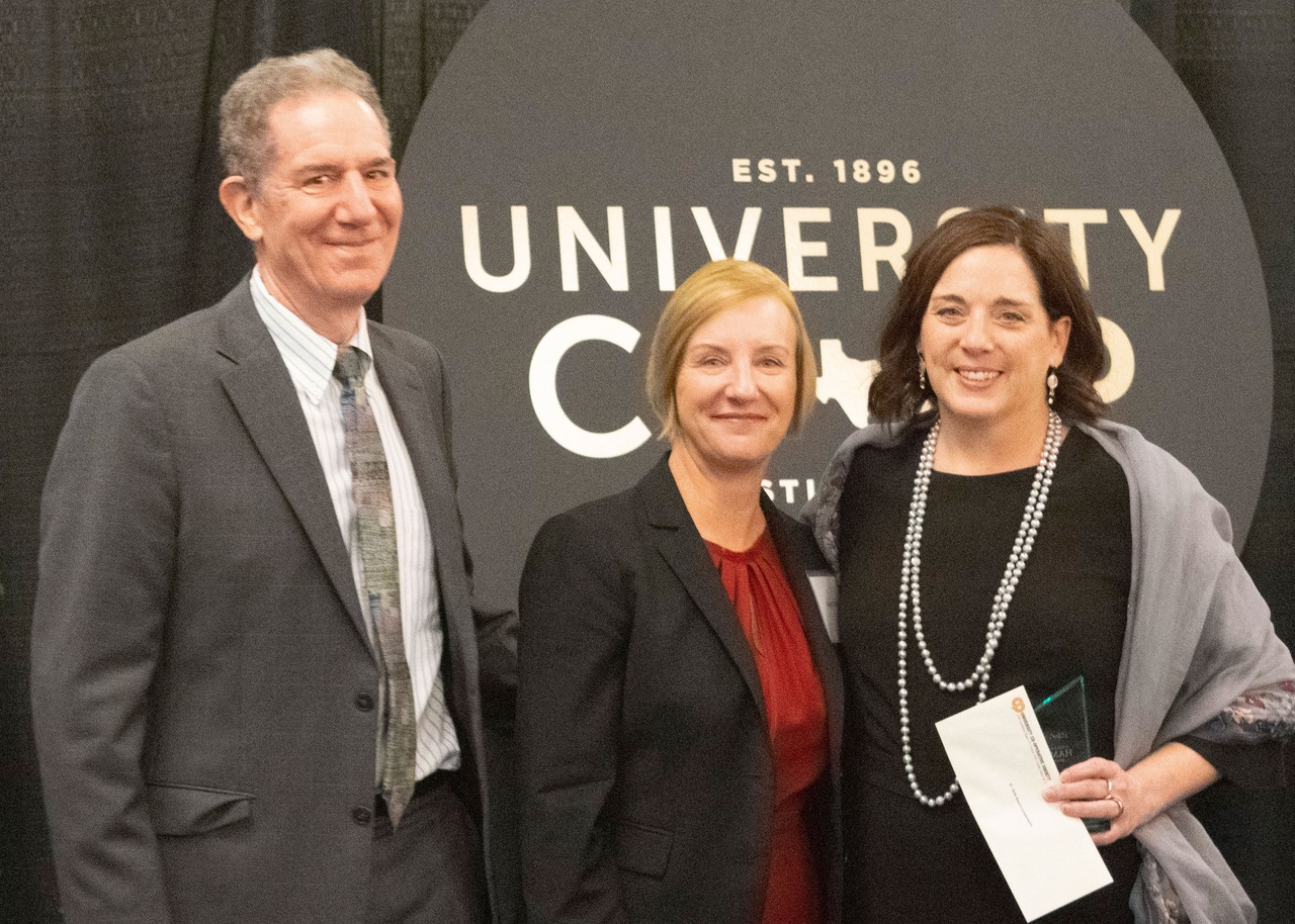 From left to right: Vice President for Research Dan Jaffe, University Co-op President Cheryl Phifer, Noël Busch-Armendariz