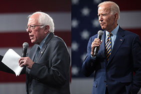 Presidential hopefuls Bernie Sanders (left) and Joe Biden (right). Images courtesy of Gage Skidmore, flickr.