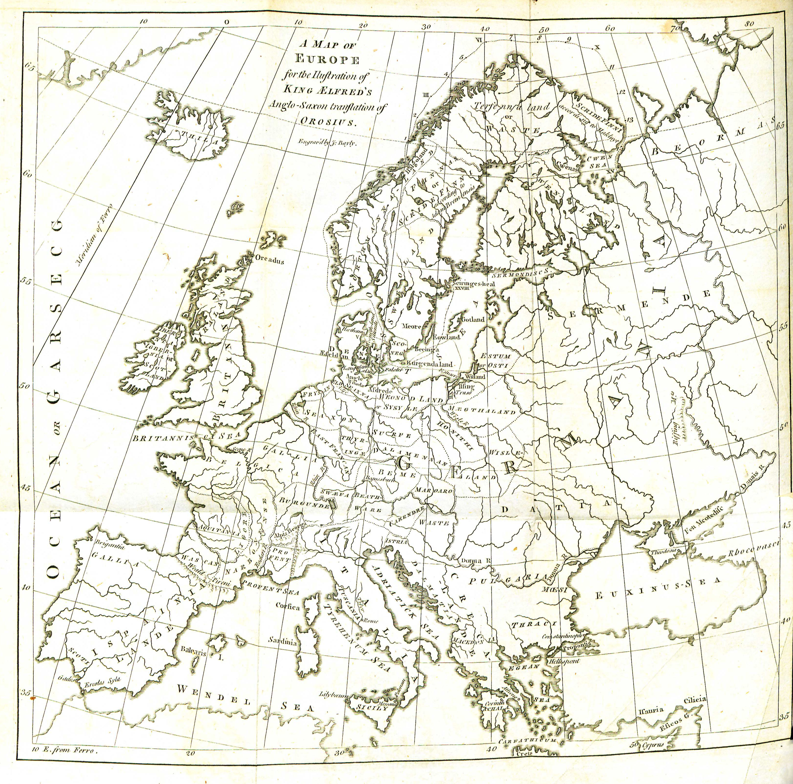 A map of Europe for King Alfred's translation of Orosius