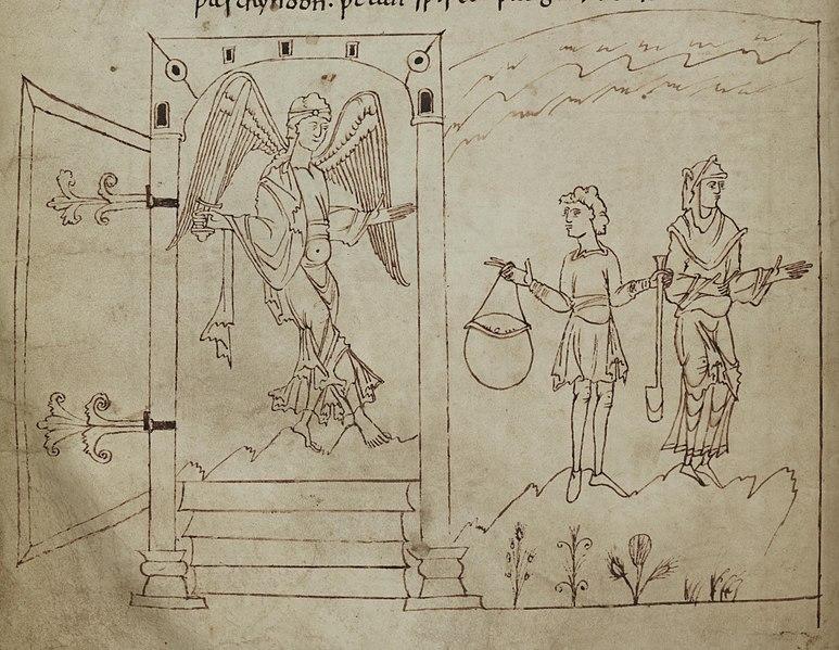 Angel guarding the gates of Paradise (Junius manuscript)