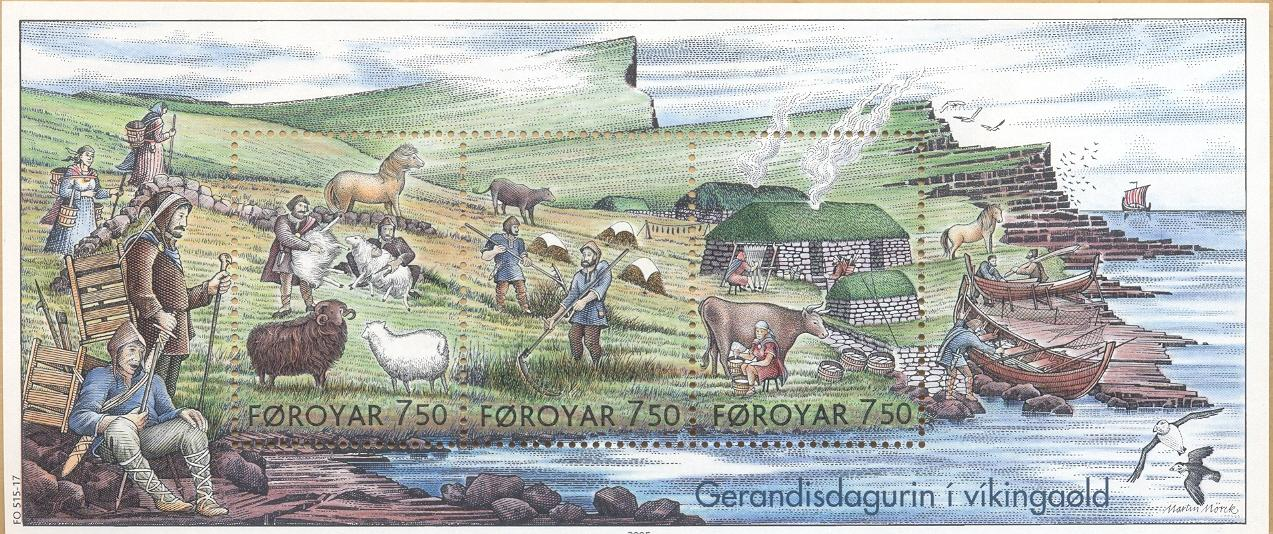 Life in the Viking Age on postage stamps from the Faroe Islands