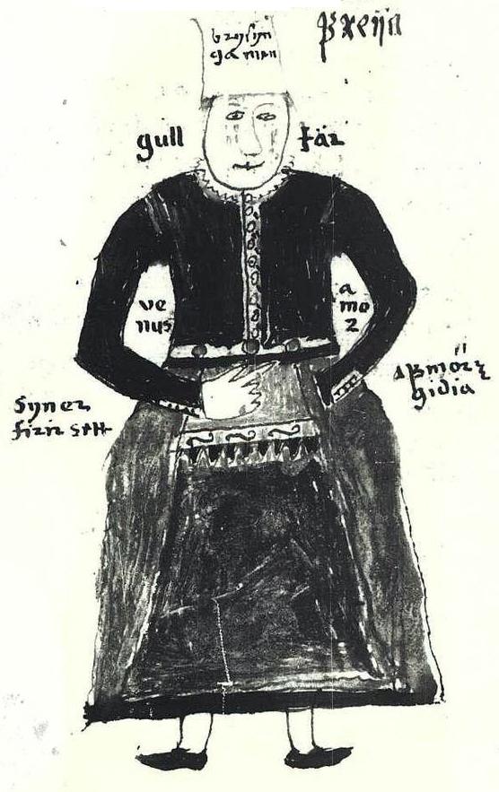 Goddess Freyja from a 17th century manuscript