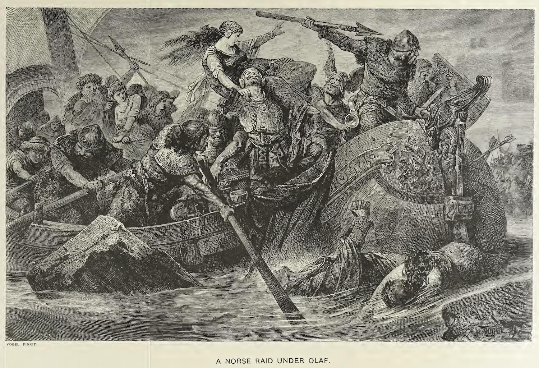 Depiction of a Viking raid by Olaf Tryggvason