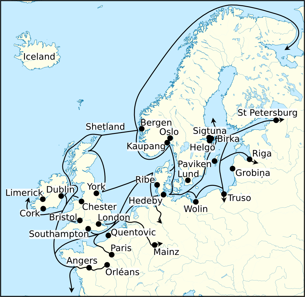 Viking Age trade routes in northwest Europe